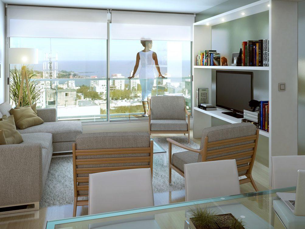 Interior apto con terraza